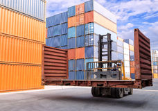 Forklift handling the flat rack container box Stock Photography