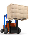 Forklift hoist the box. Forklift hoist the wooden box on white background Royalty Free Stock Photo