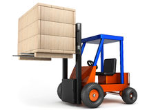 Forklift hoist wooden box Stock Images