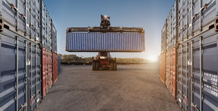 forklift holding handling container box Stock Photos