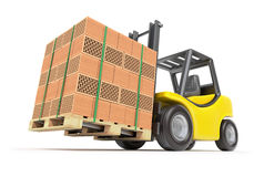 Forklift with hollow clay blocks Stock Photography