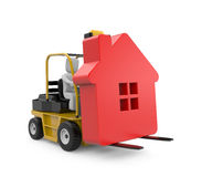 Forklift with house Stock Photo