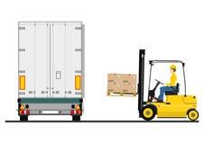 Forklift i przyczepa Obrazy Stock