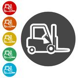 Forklift icon, Forklift truck side. Simple vector icons set Royalty Free Stock Photos