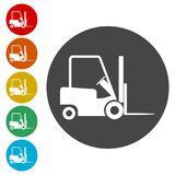 Forklift icon, Forklift truck side. Simple  icons set Royalty Free Stock Images