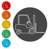 Forklift icon, Forklift truck side. Simple  icons set Stock Images