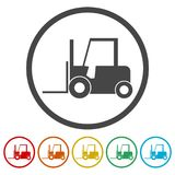 Forklift icon, Forklift truck silhouette, 6 Colors Included. Simple vector icons set Royalty Free Stock Images