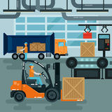 Forklift Inside Factory. Cargo Industry. Heavy Transportation Royalty Free Stock Image