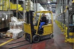 Forklift kierowca ciężarówki Fotografia Stock
