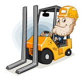 Forklift and Labor. Forklift abd labor. Detailed  illustration in isolated in white Stock Image