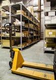 Forklift on large warehouse royalty free stock image