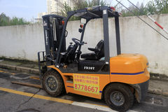 Forklift for lease. By the road in amoy city,china Royalty Free Stock Images
