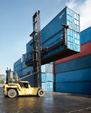 Forklift lifting container Royalty Free Stock Photography