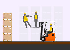 Forklift lifting people Stock Image