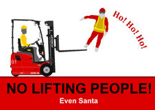 Forklift lifting people Royalty Free Stock Photo
