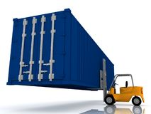 Forklift loader lifts container Stock Image