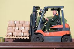 Forklift loader with load Stock Photo