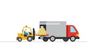 Forklift loader load boxes into a truck animation. Video concept for delivery service.