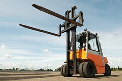 Forklift loader outdoors Royalty Free Stock Image