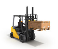 Forklift loader raised pallet isolated on white 3D render. Forklift loader raised pallet isolated on white 3D Royalty Free Stock Photography
