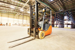 Forklift loader stacker truck at warehouse Stock Image