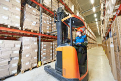 Forklift loader at warehouse Royalty Free Stock Photo