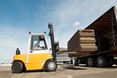 Forklift loader warehouse works Stock Images