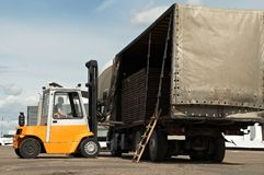 Forklift loader warehouse works Royalty Free Stock Photography
