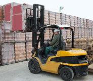 Forklift loader worker royalty free stock photo