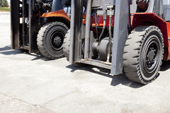 Forklift loaders tires Stock Photos