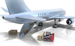 Forklift is loading the airplane Royalty Free Stock Photography