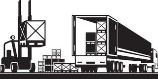 Forklift loading pallets in a truck. Vector illustration royalty free illustration