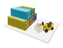 Forklift Loading Shipping Boxes into Freight Conta Royalty Free Stock Image
