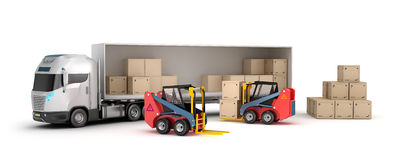 Forklift is loading the truck. Isolated vector illustration