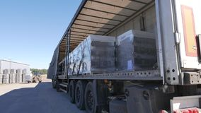 Forklift loads the truck with pallets of finished concrete products.  stock footage