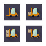 Forklift long shadow flat icons set Stock Image