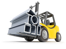 Forklift with metal profile Stock Photos