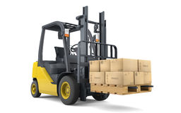 Forklift moving boxes Royalty Free Stock Images