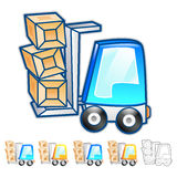 Forklift moving objects Illustration. Product and Distribution S Stock Photos