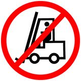 Forklift not allowed prohibition red circle road sign on white background stock photography