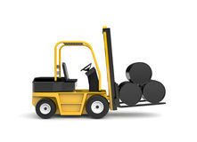 Forklift with oil barrels Royalty Free Stock Photography