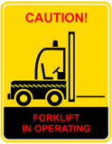 Forklift in operating - sign Stock Images