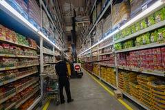Forklift Stacking Food Market Royalty Free Stock Images