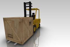 Forklift And Packing Crate Royalty Free Stock Photography