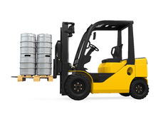 Forklift and Pallet of Beer Kegs Royalty Free Stock Image