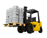 Forklift and Pallet of Beer Kegs Royalty Free Stock Images