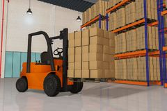 A forklift 3d rendering Stock Photography