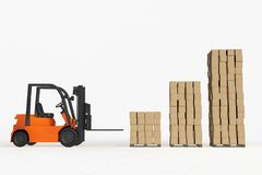 A forklift 3d rendering Royalty Free Stock Images