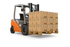 Forklift with pallet of packages. Forklift lifting a pallet of many packages Stock Photos