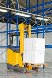Forklift Pallet. Forklift Truck with Boxes at Pallet in Warehouse Royalty Free Stock Photography
